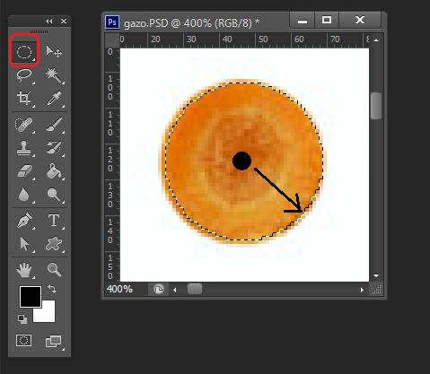 Photoshopの楕円選択ツールを利用して選択する練習講座です
