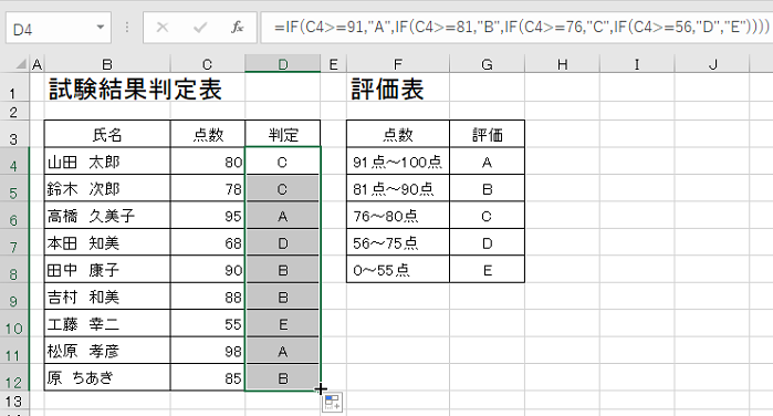 Excelでif関数を利用し判定欄にABCDEランクを付ける-判定欄を連続コピーしている図