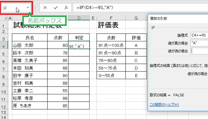 EXCELでif関数を利用し判定欄にABCDEランクを付ける-名前ボックスのIFをクリックしている図