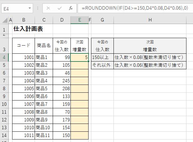 ExcelでIF関数とROUNDDOWN関数を利用し条件別に出された値を整数未満切捨てする設定をする-次回増量数が入力された図