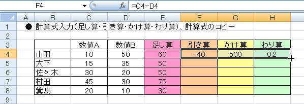 エクセルで計算式を入力する-F4~H4を範囲指定し3つのセルの枠の右下にマウスポインタを重ね+担っている図