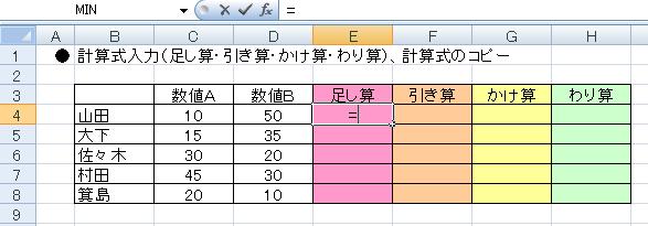エクセルで計算式を入力する-E4に=を入力している図