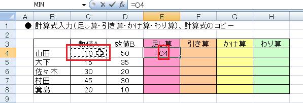 エクセルで計算式を入力する-セルC4をクリックするとE4のセルにC4と表示される図