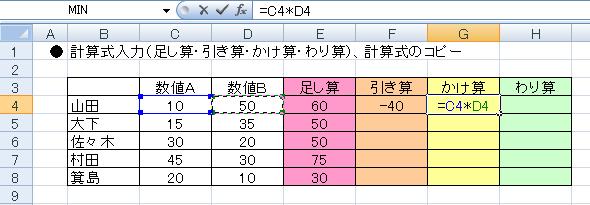 エクセルで計算式を入力する-G4の入力欄に=C4*D4と入力された図
