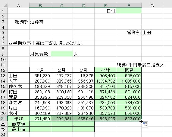 エクセルでAVERAGE関数の利用-連続コピーしている図