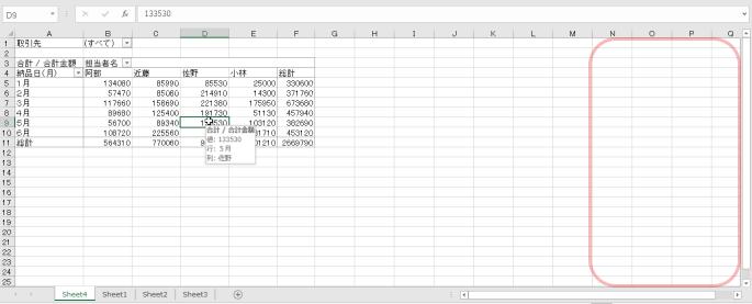 エクセルでピボットテーブルの作業ウインドウが表示されない時の対処法-ピボットテーブル内をクリックしているにもかかわらず作業ウインドウが表示されていない図