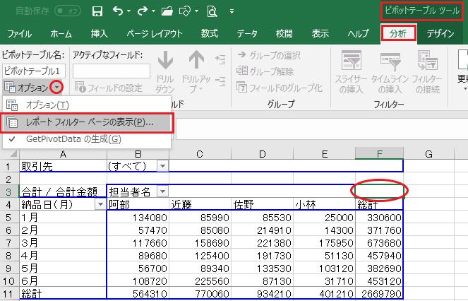 ピボットテーブルでレポートフィルターページを表示する-ピボットテーブル内をクリックしている状態でピボットテーブルツールのオプションのレポートフィルターページの表示を選択した図