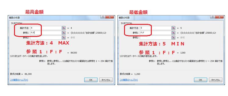 Excel,フィルター,データ,SUBTOTAL,関数,SUM