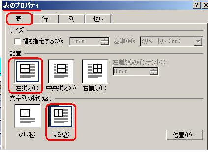 Word,表,表のプロパティ,左揃え,右揃え